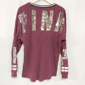 Pink Victoria Secret spell out sequin sweater S